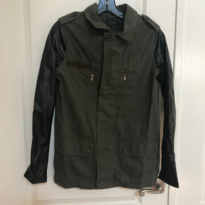 Faux Leather Sleeve Army Jacket